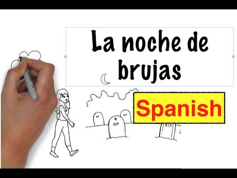 Good for Halloween time. Use for 1st year. Maybe even as hw.  La noche de brujas is a short video/illustrated story that first year Spanish students can easily grasp. Some of the vocabulary used: El esqueleto, la bruja, el fantasma, el disfraz, la calabaza, los dulces, tiene miedo, grita...