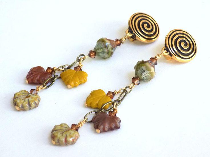 Clip on Dangle Earrings, Leaf Earrings, Gold Earrings for Women, Handcrafted Jewelry, Long Drop Earrings, Cool Earrings, Gift for Mom #handcrafted #jewelry
