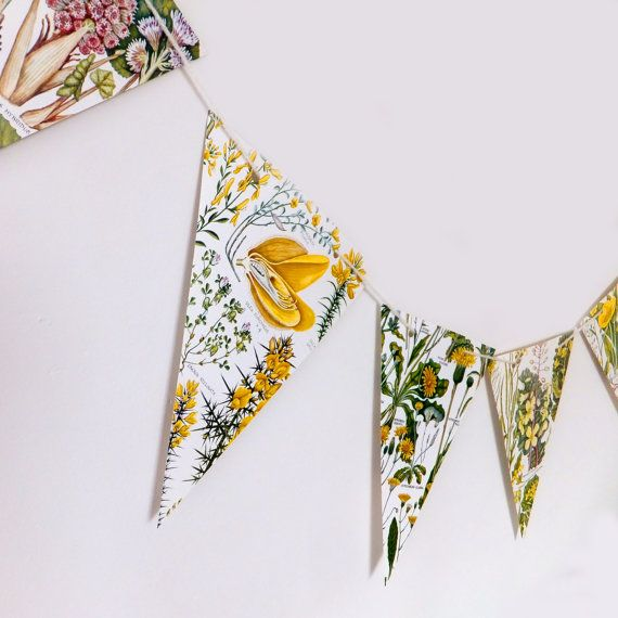 Yellow Botanical Bunting, Flower Garland, Wedding Pennants, Yellow flowers, eco-friendly paper bunting, up-cycled, wedding decorations