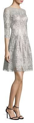 Kay Unger Embroidered Three Quarter Sleeve Fit-&-Flare Dress