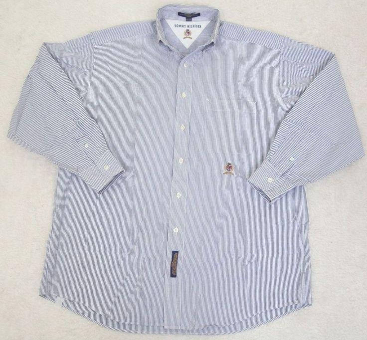 Tommy Hilfiger Blue White Dress Shirt Long Sleeve 15.5 33 Medium ButtonUp Cotton #TommyHilfiger #dressshirt
