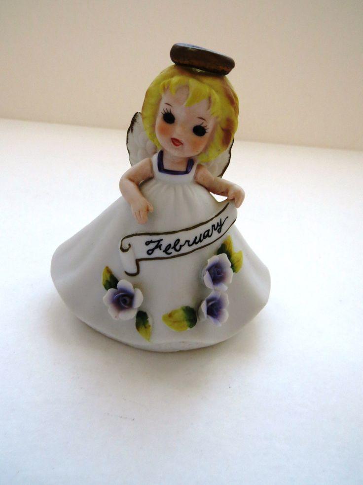 Vintage February Birthday Angel Figurine by Josef Originals - Purple Roses - Valentines Day Birthday Gift - Collectible - Home Decor by shabbyshopgirls on Etsy