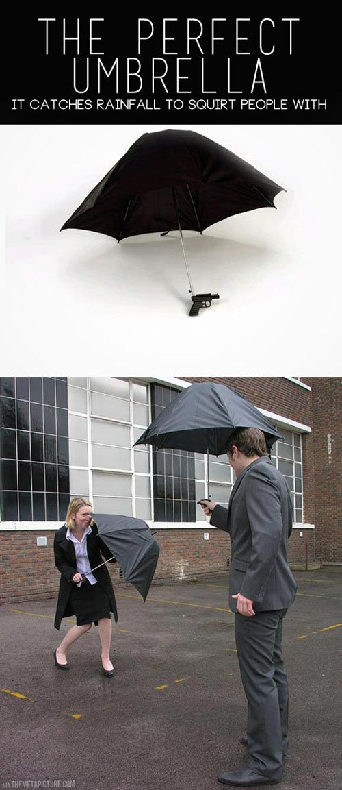 This umbrella catches water so you can squirt people!!!!!!