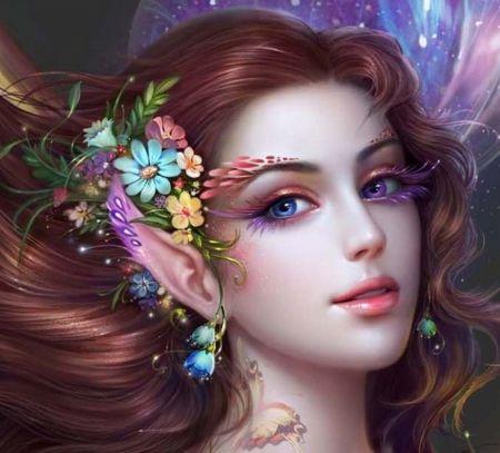 Splendida Elf - tatuaggio, gli occhi, elfo, labbra, impressionante, bello, farfalla, fiori