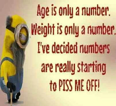 Age is only a number.  Weight is only a number.  I've decided numbers are really starting to PISS ME OFF! - minion
