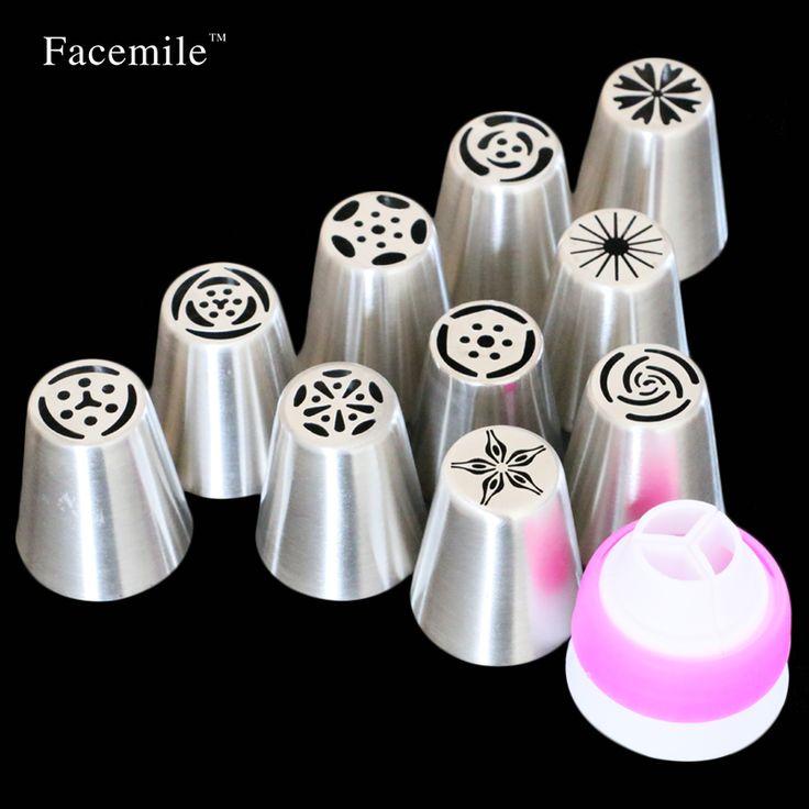 11 개 스테인레스 스틸 노즐 러시아어 팁 과자 도구 장식 배관 노즐 케이크 장식 도구 퐁당 과자 53033