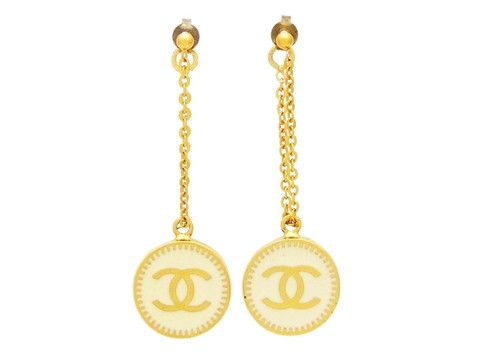 Vintage Chanel stud earrings star white medal dangling Authentic by Chanel | Vintage Five