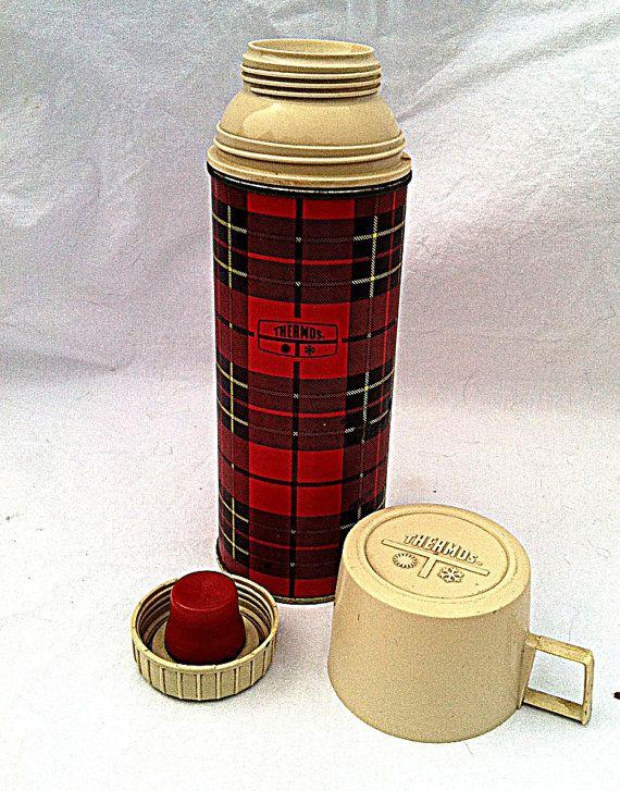 Vintage Red Plaid Thermos Tartan Plaid Thermos Retro