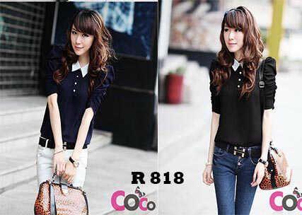 Blouse R 818 Size: Fit L Kecil Bahan: Rayon Warna: Navy & black Harga Eceran: Rp 60.000 Harga Grosir: Rp 52.000 (Seri, 2 pcs)
