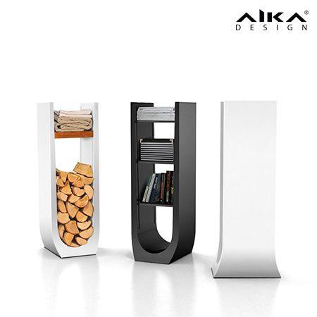 AIKAdesign - SYLI Modernisti muotoiltu AIKA-puuteline on yhtä aikaa tyylikäs ja käytännöllinen: polttopuut säilyvät takan edustalla siistissä pinossa ja kuivuvat samalla käyttövalmiiksi. SYLI rack #aikadesign #aika #syli #design #puuteline #hylly