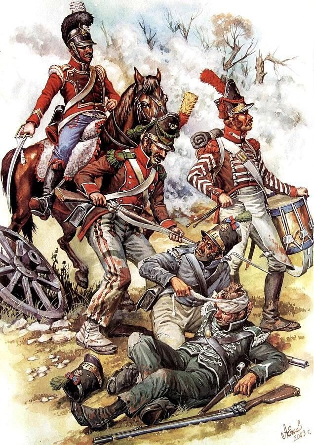 The mounted trooper and the two in brown coats are from the Portuguese Legion serving in the French army. The one in green is from I think the Loyal Lusitanian Legion, tat was formed by the British who then gave it to the Portuguese Government. The one in grey I think is a regular Portuguese line infantry.