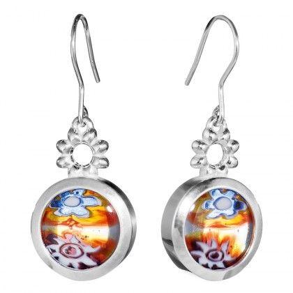 Kalevala Koru / Kalevala Jewelry / Millefiori-korvakorut / Millefiori earrings / Design Kirsti Doukas / Silver & Glass