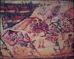Accampamento greco dall'Iliade Ambrosiana / Greek camp from the Ambrosian Iliad
