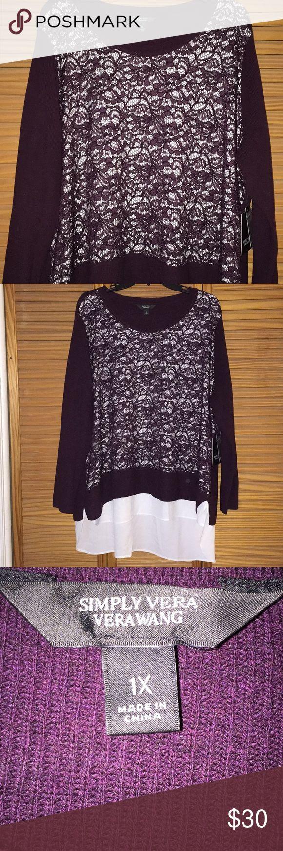 Simply Vera Vera Wang sweater Brand new, never worn. Plum colored Simply Vera sweater with white shirt tail. Simply Vera Vera Wang Sweaters Crew & Scoop Necks