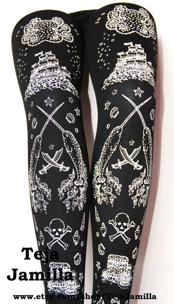 Pirate print tights are very cool.: Pirate Tights, Black And White, Tights Black, Narwhal Printed, Nautical Tattoo, Large Narwhal
