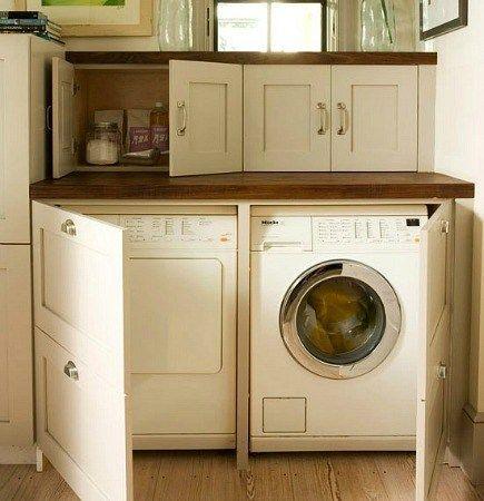washer & dryer hidden behind cabinet doors