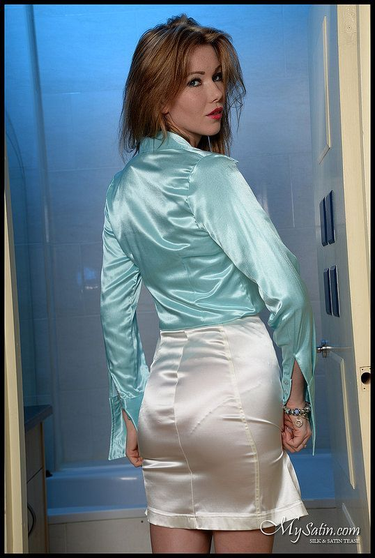 White Satin Skirt and Blue Satin Blouse, with a distinct visible panty line. #vpl