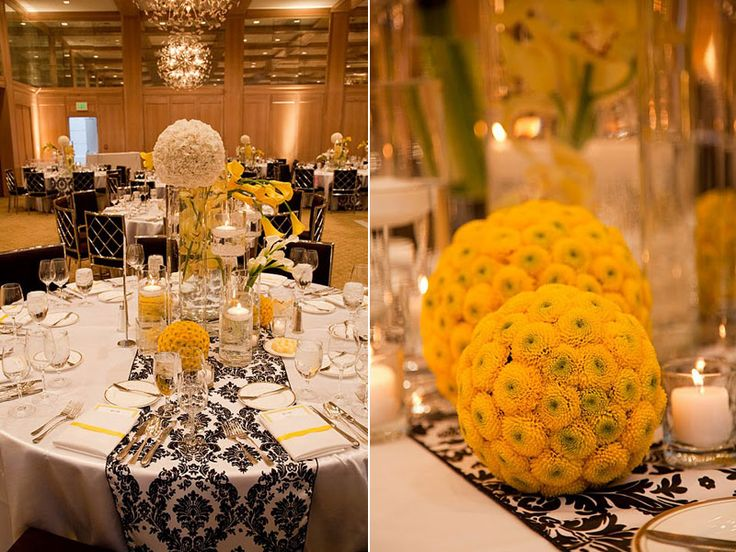 the yellow button mums pomanders (kissing balls) are so pretty with the damask