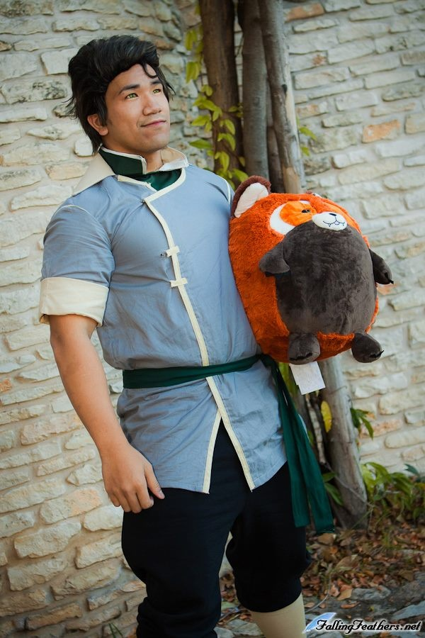 """Squishable fan Billy and his Red Panda as Bolin from the series, """"The Legend of Korra!"""" This awesome picture was taken by Angelwing for www.fallingfeathers.net! #fashion #cosplay"""