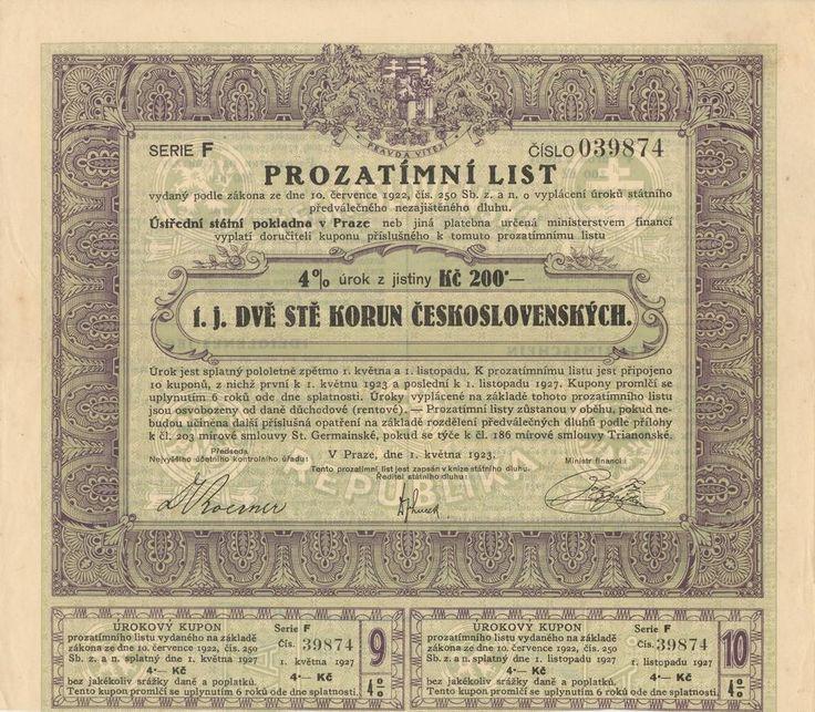 """4,00%ní prozatímní list na 200 Kč. Praha, 1923. """"Prozatímní listy zůstanou v oběhu, pokud nebudou učiněna další příslušná opatření na základě rozdělení předválečných dluhů dle přílohy k čl. 203 mírové smlouvy St. Germainské, pokud se týče k čl. 186 mírové smlouvy Trianonské."""""""