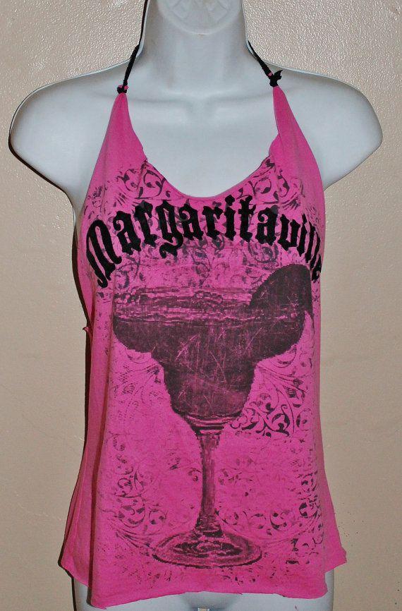Margaritaville Hot Pink t shirt redesigned Halter by ...