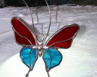 Stained Glass Butterfly Suncatcher Iridescent Pink by Glassquirks