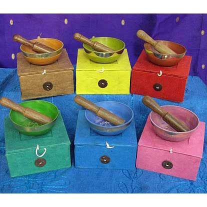 Chakra Singing Bowls. These beautifully presented singing bowls come in all the chakra colours. They have a wonderfully healing and relaxing effect.    Purple not shown, but is available