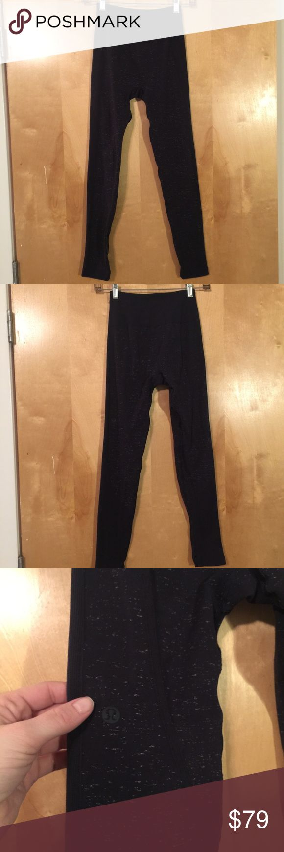 Lululemon Free to Flow 7/8 Tight Midnight blue with white speckled tights by Lululemon. Provide hugged/second skin sensation and only worn once/washed (hung to dry) once. Excellent like new  condition. **stock photos are black with speck but actual tights are dark blue with speck*** lululemon athletica Pants Leggings