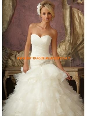 moderno abito da sposa splendido design senza spalline in ve...