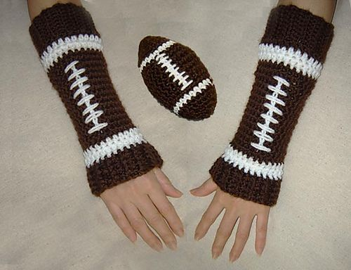 Ravelry: Toy Football and Matching Leg Warmers Baby-Child / Arm Warmers-Adults pattern by Cathy Ren