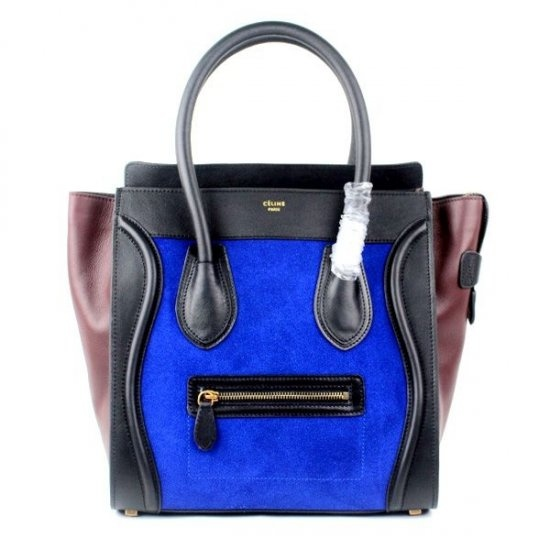 Celine Mini Luggage Bag Tote Tricolor Royal Blue Black [Celine-189 ...