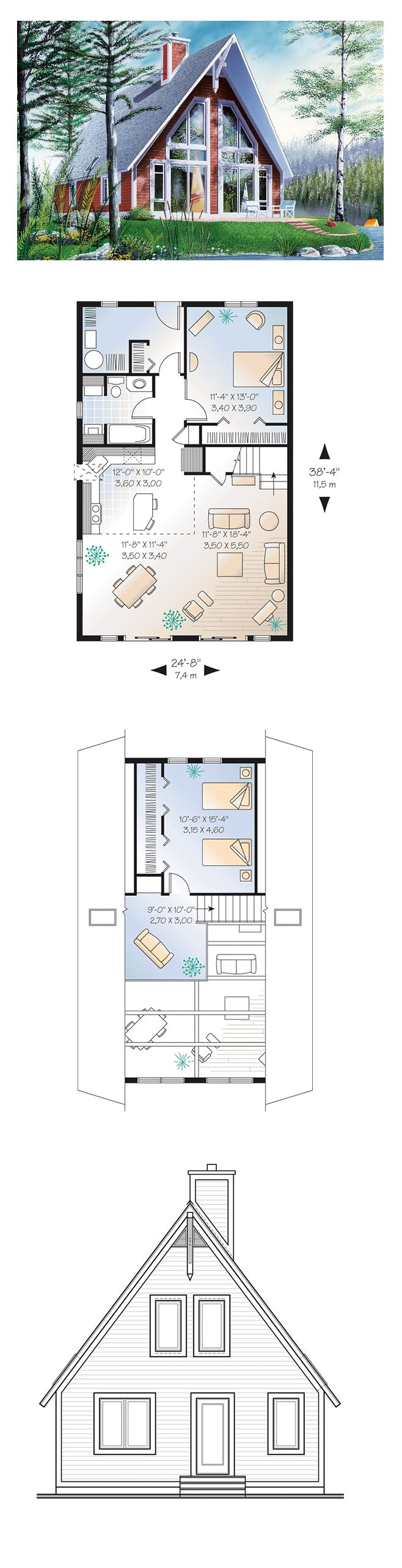 7469 best images about home interior design on pinterest for Two bedroom house plans with basement