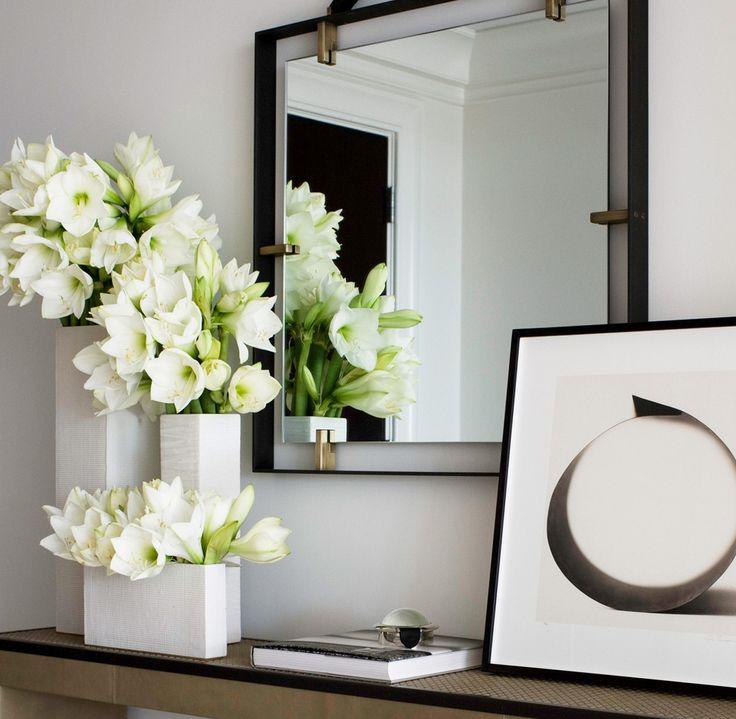 White Modern Floral Arrangement Group In Cube Vases