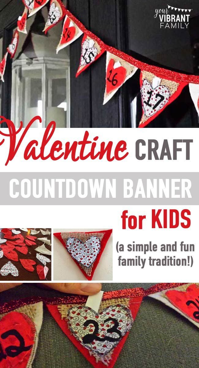 Here's a fun way for kids celebrate Valentine's Day… all month long!Our family loves using calendars to count down the days of Christmas, so enter the Valentine Countdown Banner! #valentinescountdown #valentinescountdowncalendar #valentinescountdownactivities #valentinesdayforkids