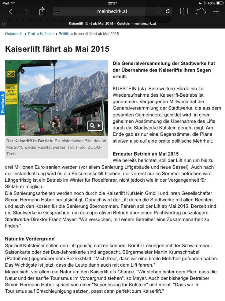 Kaiserlift Mai 2015 wieder in Betrieb !!!