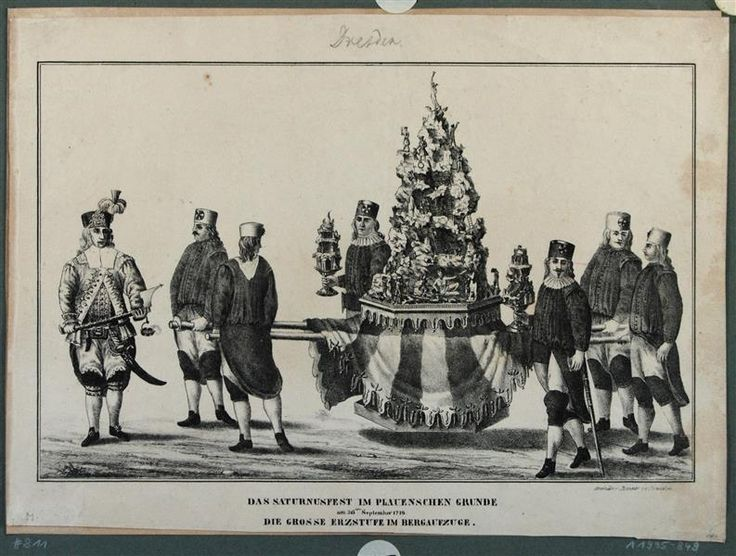 Die große Erzstufe im Bergaufzug beim Saturnusfest oder Bergwerksfest am 26. September 1719 im Plauenschen Grund bei Dresden anlässlich der Hochzeit des Kronprinzen Friedrich August von Sachsen mit Maria Josepha von Österreich