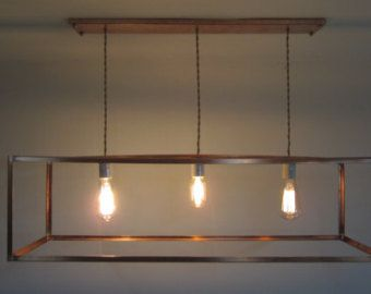 Industrial Copper Cage Chandelier Bare Bulb Pendant - Long Rectangular Box Shade…