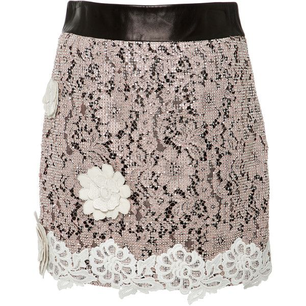 Fausto Puglisi Pink Macrame Lace Leather Skirt (2925 PAB) ❤ liked on Polyvore featuring skirts, mini skirts, pink, brown skirt, pink mini skirt, genuine leather skirt, leather skirts and flower skirt