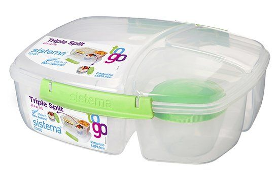 Sistema To Go Lunchbox Triple Split - Limoengroen - 2L