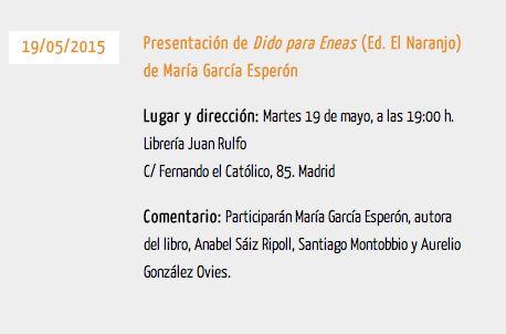 María García Esperón: Hacia Madrid: Dido para Eneas en la Librería Juan Rulfo del FCE