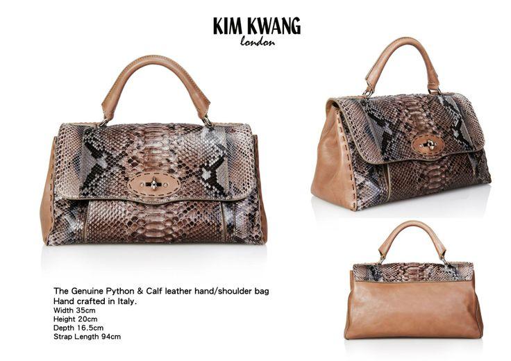 KIM KWANG Handbag   The Genuine Python & Calf leather hand/shoulder bag   Hand crafted in Italy