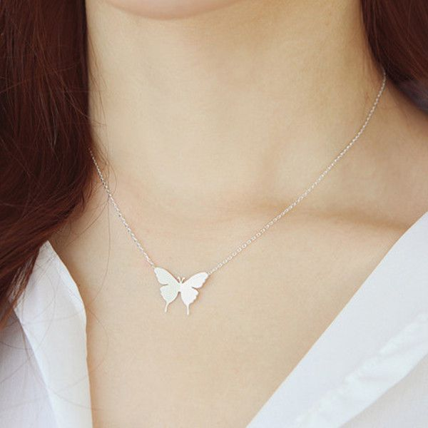 Gold and Silver Fashion Cute Butterfly Pendant Necklaces