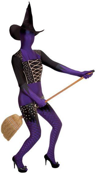 Costume Morphsuits™ da strega viola per donna: una tuta integrale super aderente ed elasticizzata per sorprendere i tuoi amici ad Halloween con una versione divertente ed originale del tradizionale vestito da strega!