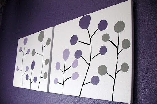 Circle Tree Modern Art | do in coral grey and blue for guest bedroom.