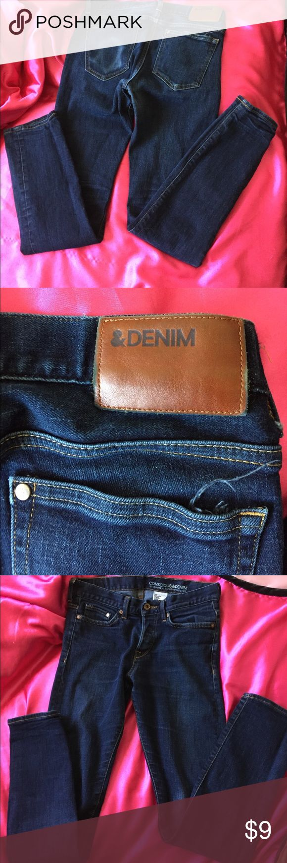 H&M slim low waist jeans Conscious & Denim size 30/32 slim low waist , good used condition. ( besides the left back pocket as seen on pic #2, left a marking on what was in the pocket when washed ) H&M Jeans Skinny