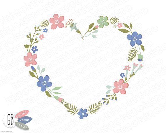 Folk flower wreaths, laurels, borders, clip art, heart ...
