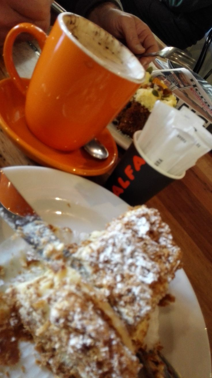 Fresh, fluffy and light vanilla slice with capuccino cannot go wrong at Alfa!