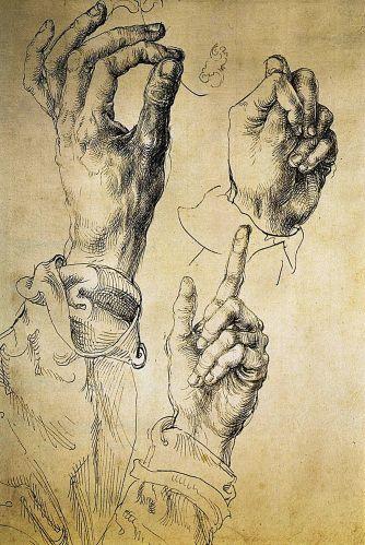 Alberto Durero Étude de trois mains, 1494–5 Plume et encre marron sur une légère esquisse préliminaire à lencre sur papier 27 x 18 cm Graphische Sammlung Albertina