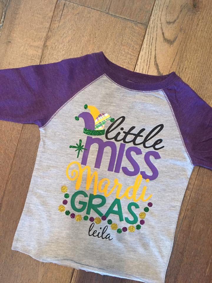 ba1c47e85 Little miss Mardi Gras girl shirt raglan | Etsy
