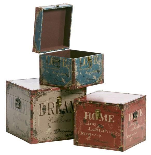 Kvadrat Kuffert med Tekst sæt af 3 - Se også Hvide møbler og Spejle